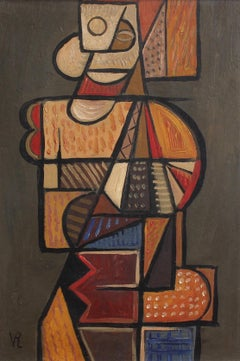 VR, 'Portrait of Natural Man', Cubist Oil Painting circa 1940s - 1950s