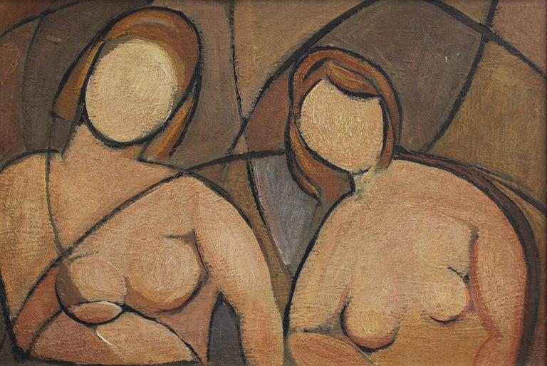 'Portrait of Anonymous Women', Mid-century Cubist Oil Painting Circa 1940s - 50s