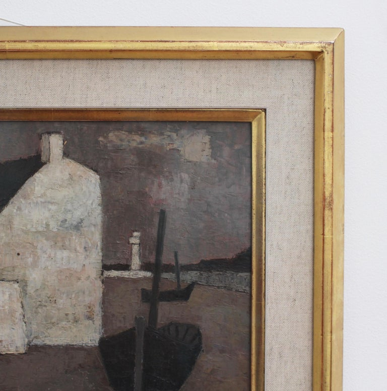 'Le Port' by Frank Milo, Mid-Century Seascape Oil Painting, Brittany France 1962 For Sale 6