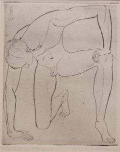 'Study of a Nude Young Man' by KHK, 1958, Mid-Century Etching of Male Nude