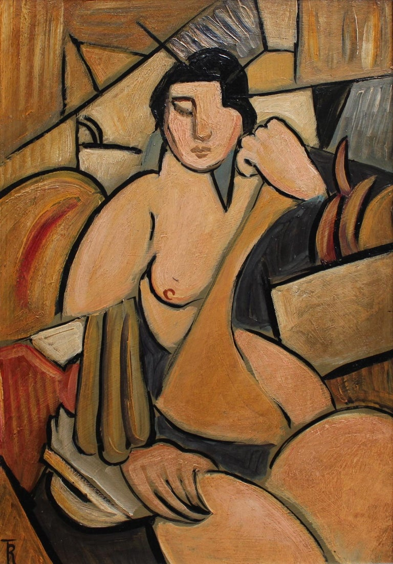 T.R., 'Seated Cubist Nude', circa 1940s - 1950s, Modern Cubist Oil Painting