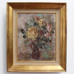 Lilian E. Whitteker, 'Bouquet of Flowers in Red Vase' Expressionist Oil Painting