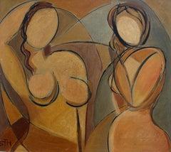 STM, 'Posing Nudes', Cubist Portrait Nude Oil Painting, circa 1940s