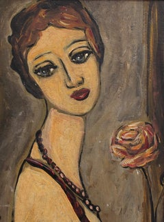 'Pensive Woman with Rose', Mid-Century Portrait Oil Painting (circa 1940s - 50s)