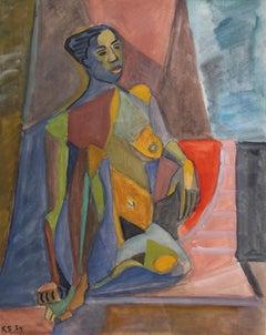 'Cubist Nude Portrait of Seated Woman' by Kosta Stojanovitch, 1954