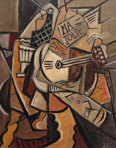 J.G., 'Ma Jolie', Cubist Abstract Still Life Oil Painting, circa 1950s