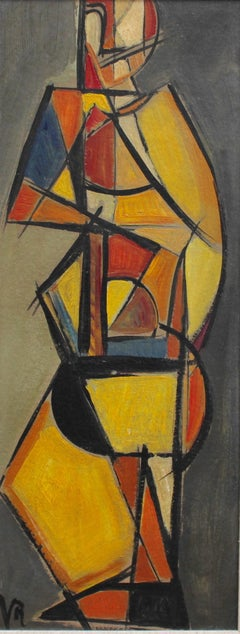 V.R., 'Pizzicato' Double Bass Player, Cubist - Abstract Oil Painting 1940s - 50s