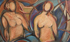 'Nudes in Repose' by STM, Mid-Century Modern Cubist Portrait Painting, Berlin
