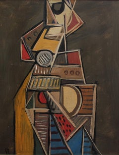 'Cubist Instrumentalist' by V.R., Mid-Century Abstract Oil Painting, Berlin