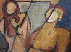 'Portrait of Man and Woman' by STM, Cubist Nude Oil Painting, circa 1950s