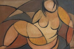 'Portrait of Reclining Woman' by STM, Cubist Nude Oil Painting, Berlin 1950s