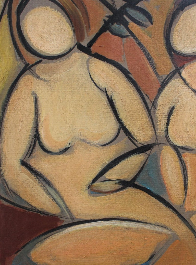 'Two Nudes in Landscape' by STM, Modern Cubist Portrait Oil Painting, Berlin For Sale 7