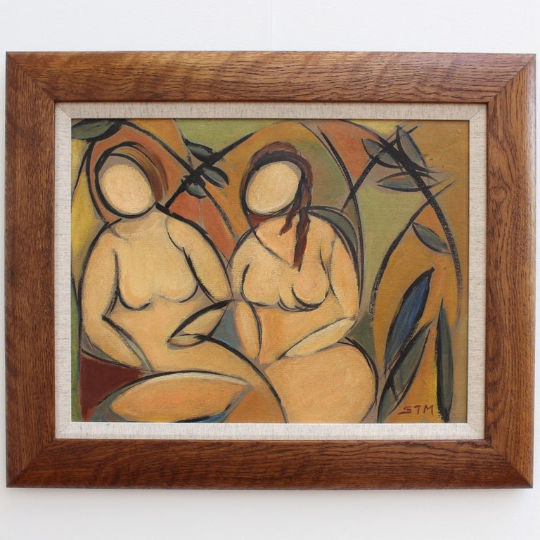 'Two Nudes in Landscape' by STM, Modern Cubist Portrait Oil Painting, Berlin For Sale 1