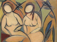 'Two Nudes in Landscape' by STM, Cubist Portrait Oil Painting, Berlin, c. 1950s