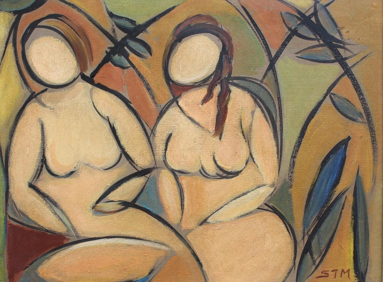 'Two Nudes in Landscape', oil on soft board, by STM (circa 1950s). So many artists have painted nudes in landscapes: Picasso, Otto Mueller, Marcel Duchamp, Frida Kahlo and others. This artwork by STM has a wonderful synergy whereby the human