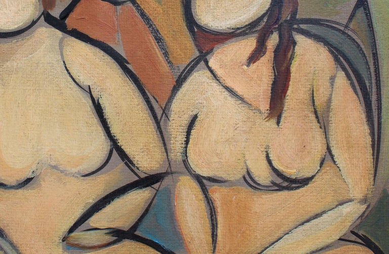 'Two Nudes in Landscape' by STM, Modern Cubist Portrait Oil Painting, Berlin For Sale 9