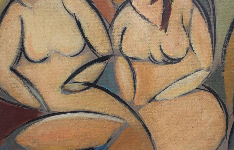 'Two Nudes in Landscape' by STM, Modern Cubist Portrait Oil Painting, Berlin For Sale 4