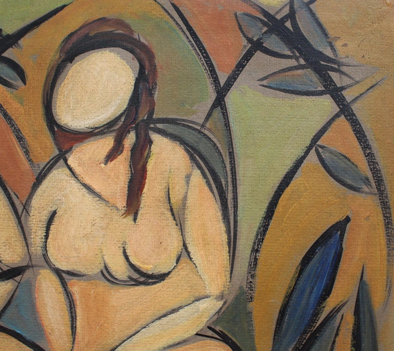 'Two Nudes in Landscape' by STM, Modern Cubist Portrait Oil Painting, Berlin For Sale 8