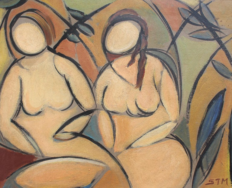 'Two Nudes in Landscape' by STM, Modern Cubist Portrait Oil Painting, Berlin For Sale 10