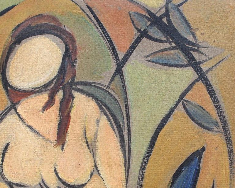 'Two Nudes in Landscape' by STM, Modern Cubist Portrait Oil Painting, Berlin For Sale 11