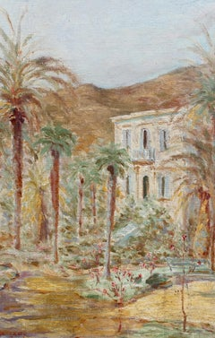 'French Riviera Home' by R. de Lamy, Vintage Oil Painting, 1937