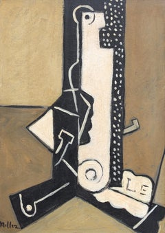 Miller, 'Still Life with Bottle, Newspaper, Pipe' Abstract Cubist Oil Painting