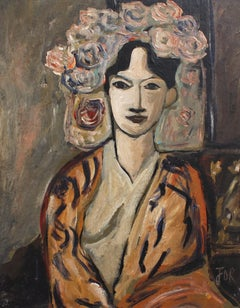 'Flowered Woman in Robe' by F.O.R., Midcentury Oil Portrait Painting
