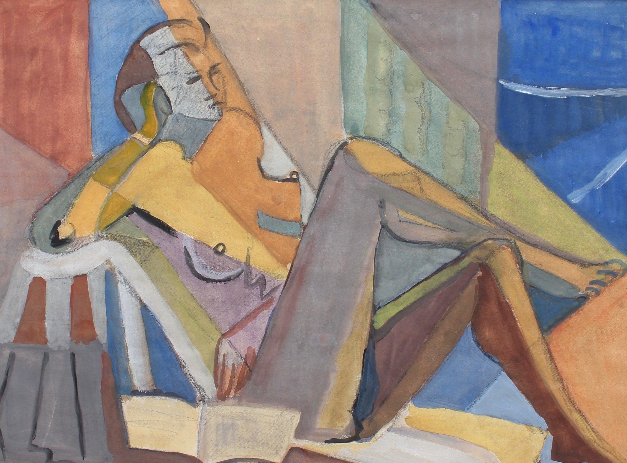 Portrait of Reposing Cubist Nude with Book by Kosta Stojanovitch