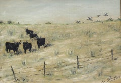 'Grazing Bulls in the Camargue' by M. Arvanitakis, Mid-Century Oil Landscape