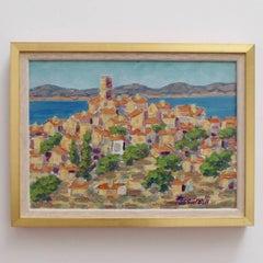 Mario Passarelli, 'St. Tropez', France, Landscape Oil Painting, circa 1960s
