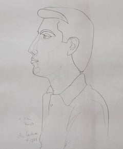 'Portrait of Raymond Moretti' by Jean Cocteau, Vintage Lithograph, 1963