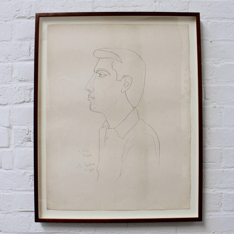 'Portrait of Raymond Moretti' by Jean Cocteau, Vintage Lithograph, 1963 For Sale 1