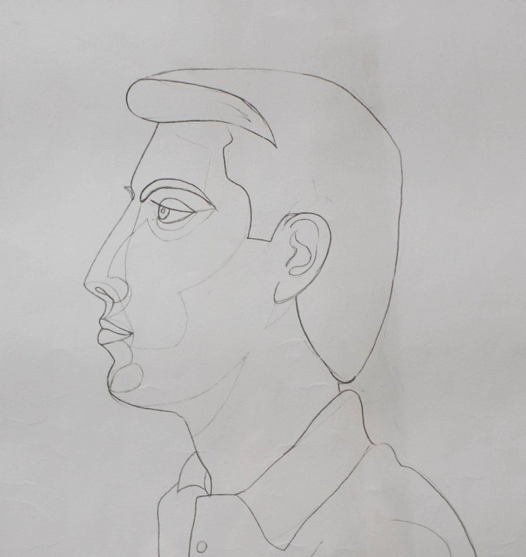 'Portrait of Raymond Moretti' by Jean Cocteau, Vintage Lithograph, 1963 For Sale 2