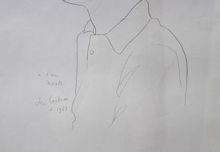 'Portrait of Raymond Moretti' by Jean Cocteau, Vintage Lithograph, 1963 For Sale 4