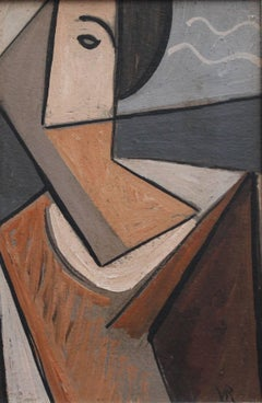 'Portrait of a Young Man' by VR, Mid-Century Modern Cubist Oil Painting, Berlin