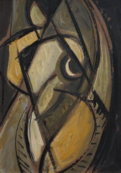 'The Artist's Nude Model', Mid-Century Modern Cubist Oil Portrait, Berlin
