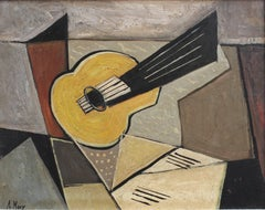 'Musical Geometry' by A Maxy, Mid-Century Modern Cubist Oil Painting, Berlin