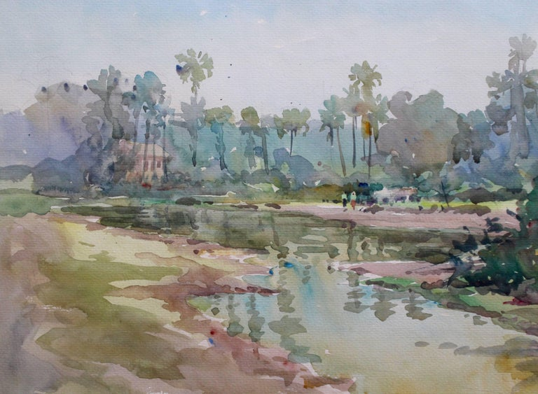 'Monywa', watercolour on paper, (2003) by Burmese artist, Than Aung. Monywa is a region in Burma-Myanmar on the east bank of the River Chindwin. This is a delicate depiction of a rural scene after a seasonal downpour. Two residents walk towards