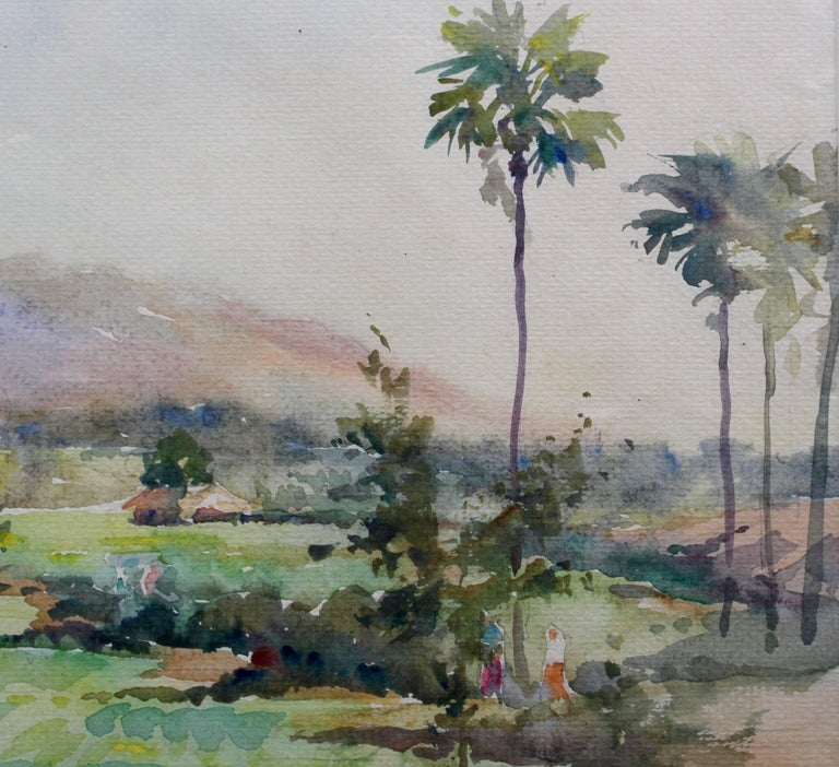 'Monywa II', watercolour on paper, (2003) by Burmese artist, Than Aung. Monywa is a region in Burma-Myanmar on the east bank of the River Chindwin. This is a delicate depiction of an idyllic rural scene which complements the other piece by the same