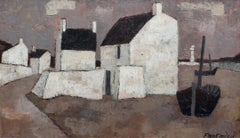 'Le Port' by Frank Milo, Mid-Century Seascape Oil Painting, Brittany France 1962