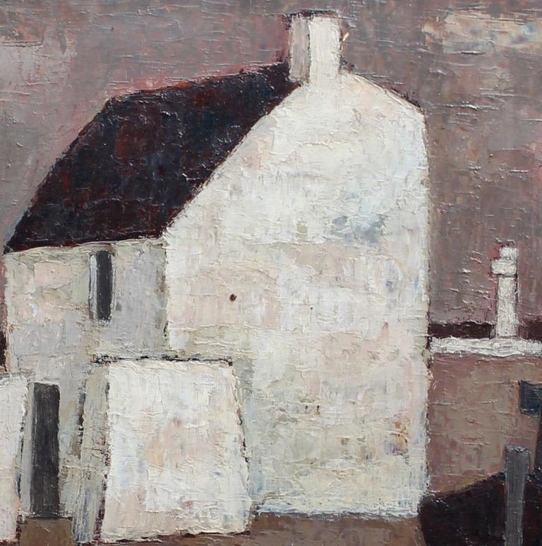 'Le Port' by Frank Milo, Mid-Century Seascape Oil Painting, Brittany France 1962 For Sale 3