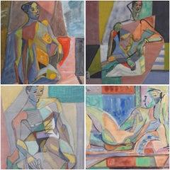 Set of Four Mid-Century Modern Cubist Nude Portraits by Kosta Stojanovitch