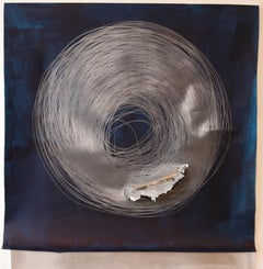 Carali McCall, Work no. 1 (Circle Drawing) Blue / Silver, 2018