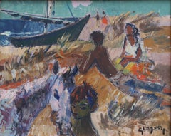 'Gitans sur la Plage (Gypsies on the Beach)' by Gaston Lagorre, 1958