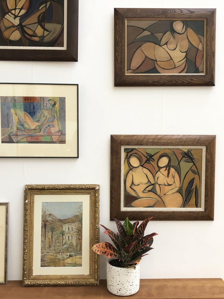 'Two Nudes in Landscape' by STM, Modern Cubist Portrait Oil Painting, Berlin For Sale 13