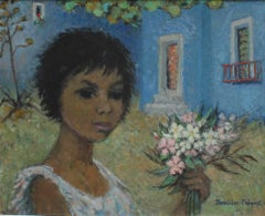 'La Petite Gitane (The Little Gypsy Girl)', Oil Portrait with Plants and Flowers