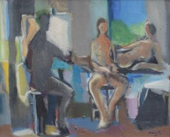 'The Painter and the Models', Mid-Century Modern Nude Oil Painting