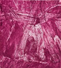 Shandaken 5 Catskill mountain abstract landscape in layers of magenta and pink.