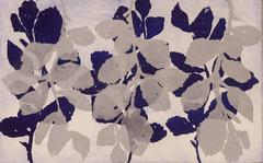 """Golden Treasures 5"", abstract aquatint plant-study monoprint, silver, violet."
