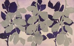 Golden Treasures 7, abstract aquatint plant-study monotype, deep purple, silver.